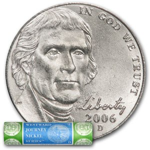 2006-D Jefferson Nickel Roll 40-Coin Roll BU (Mint Wrapped)