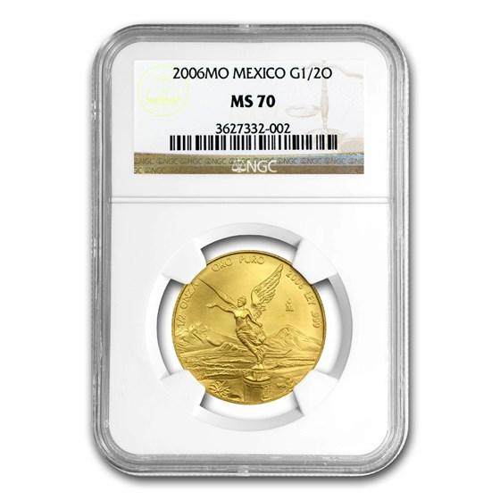 2006 Mexico 1/2 oz Gold Libertad MS-70 NGC