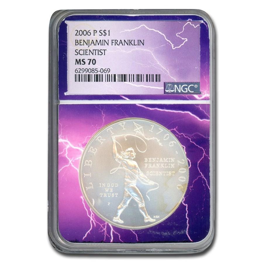 2006-P Ben Franklin Scientist $1 Silver Commem MS-70 NGC