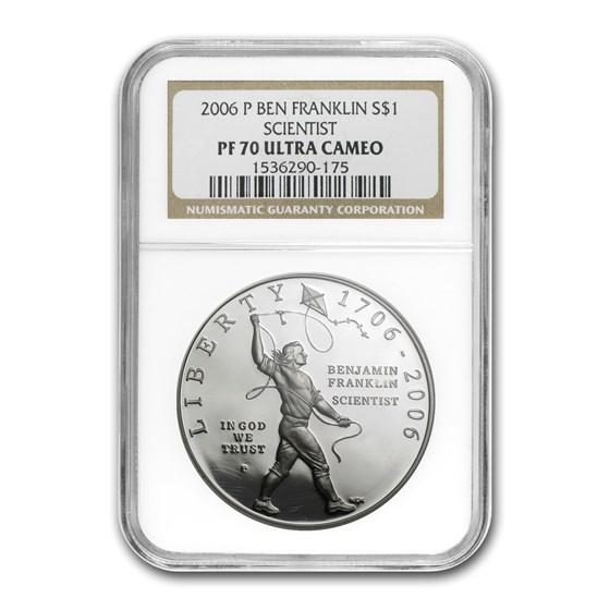 2006-P Ben Franklin Scientist $1 Silver Commem PF-70 NGC