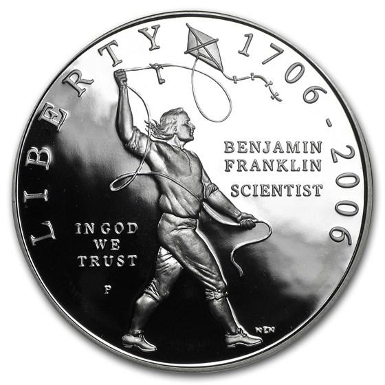 2006-P Ben Franklin Scientist $1 Silver Commem Prf (w/Box & COA)