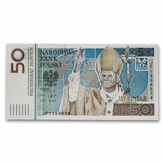 2006 Poland Pope John Paul II 50 Zlotych Banknote Unc