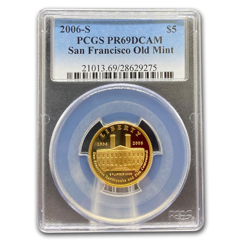 2006-S US Gold $5 San Francisco Old Mint Commemorative BU Coin in Capsule