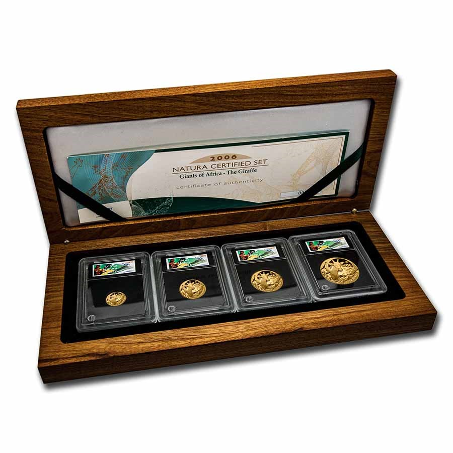 2006 South Africa 4-Coin Gold Natura Giraffe Proof Set