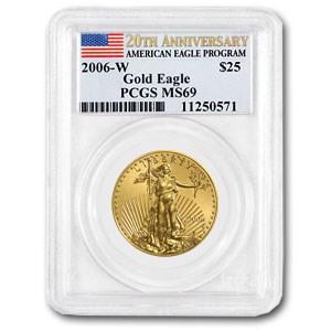 2006-W 1/2 oz Burnished Gold Eagle MS-69 PCGS (20th Anniv)