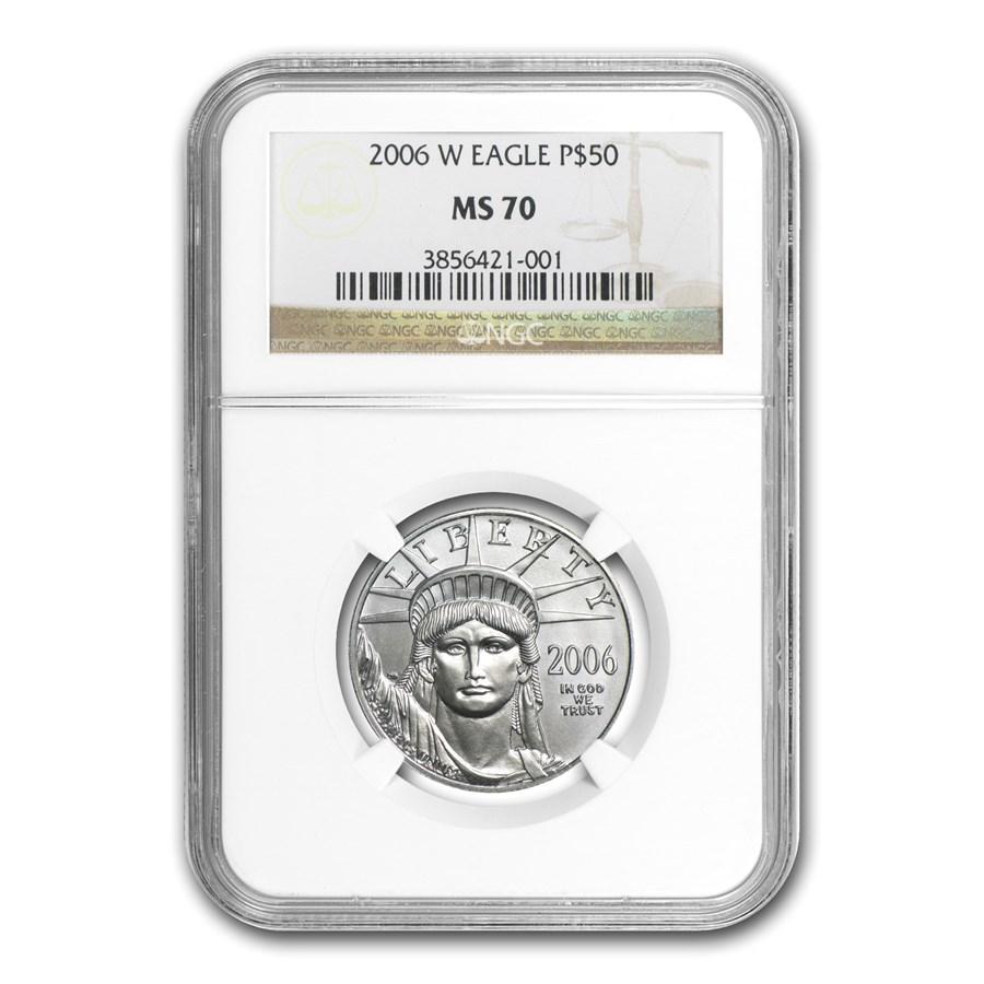 2006-W 1/2 oz Burnished Platinum American Eagle MS-70 NGC