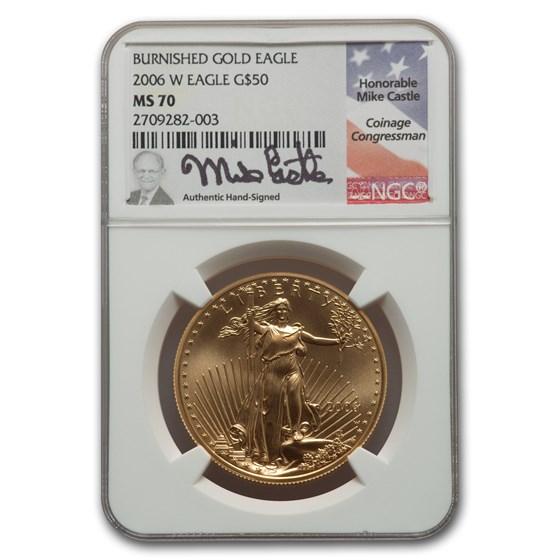 2006-W 1 oz Burnished Gold Eagle MS-70 NGC (Castle)