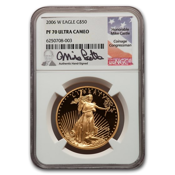 2006-W 1 oz Proof American Gold Eagle PF-70 NGC (Castle Label)