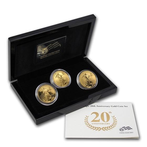 2006-W 3-Coin Gold American Eagle Anniversary Set (w/Box & COA)