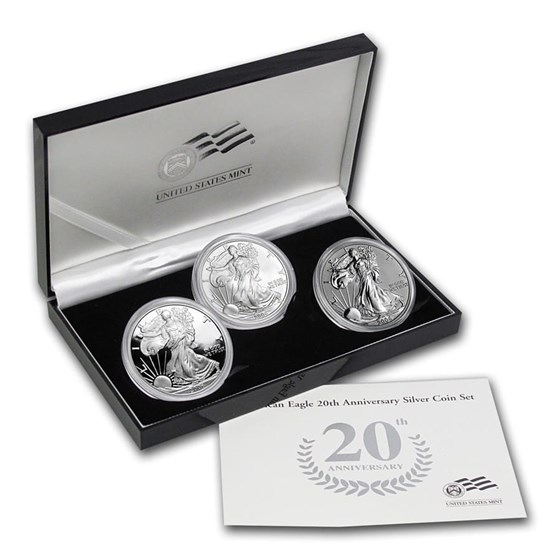 2006-W 3-Coin Proof Silver Eagle Set (20th Anniv, w/Box & COA)