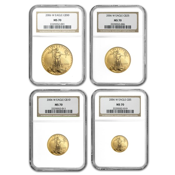 2006-W 4-Coin Burnished Gold American Eagle Set MS-70 NGC