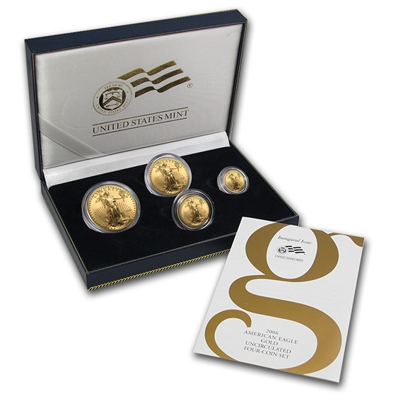 2006-W 4-Coin Burnished Gold American Eagle Set (w/Box & COA)