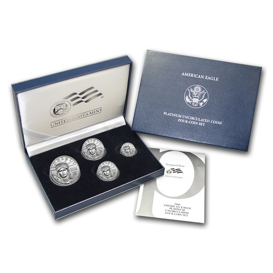 2006-W 4-Coin Burnished Platinum American Eagle Set (w/Box & COA)