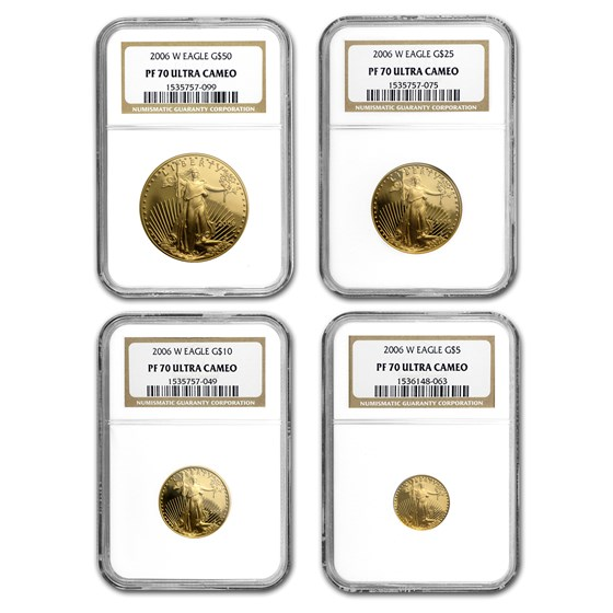 2006-W 4-Coin Proof American Gold Eagle Set PF-70 NGC