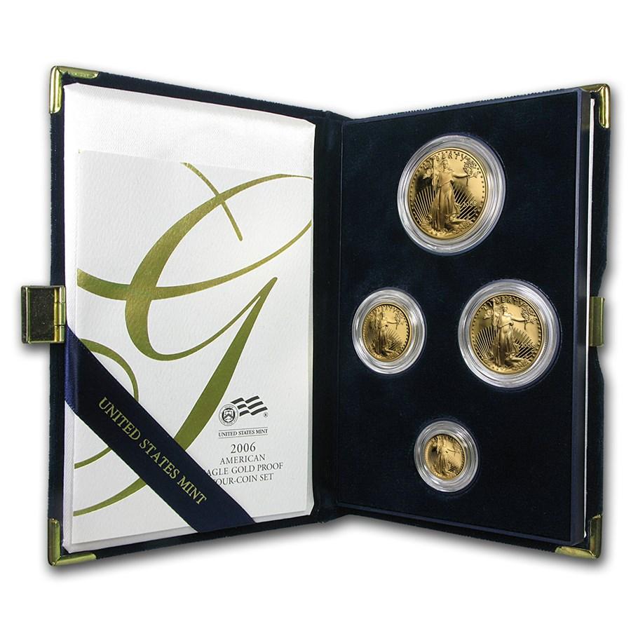 2006-W 4-Coin Proof American Gold Eagle Set (w/Box & COA)