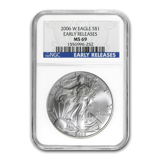2006-W Burnished Silver American Eagle MS-69 NGC (ER)