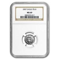 2007 1/10 oz American Platinum Eagle MS-69 NGC