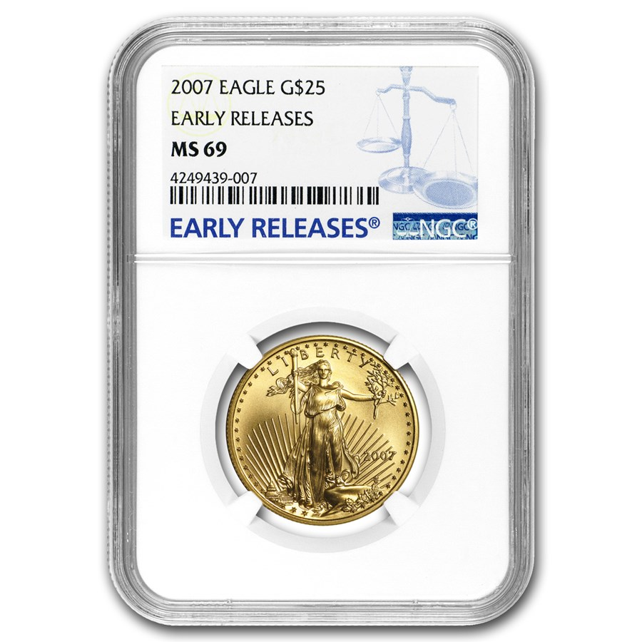 2007 1/2 oz American Gold Eagle MS-69 NGC (Early Releases)