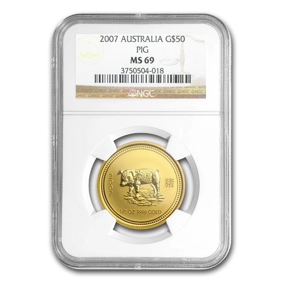2007 1/2 oz Gold Lunar Year of the Pig MS-69 NGC (Series I)