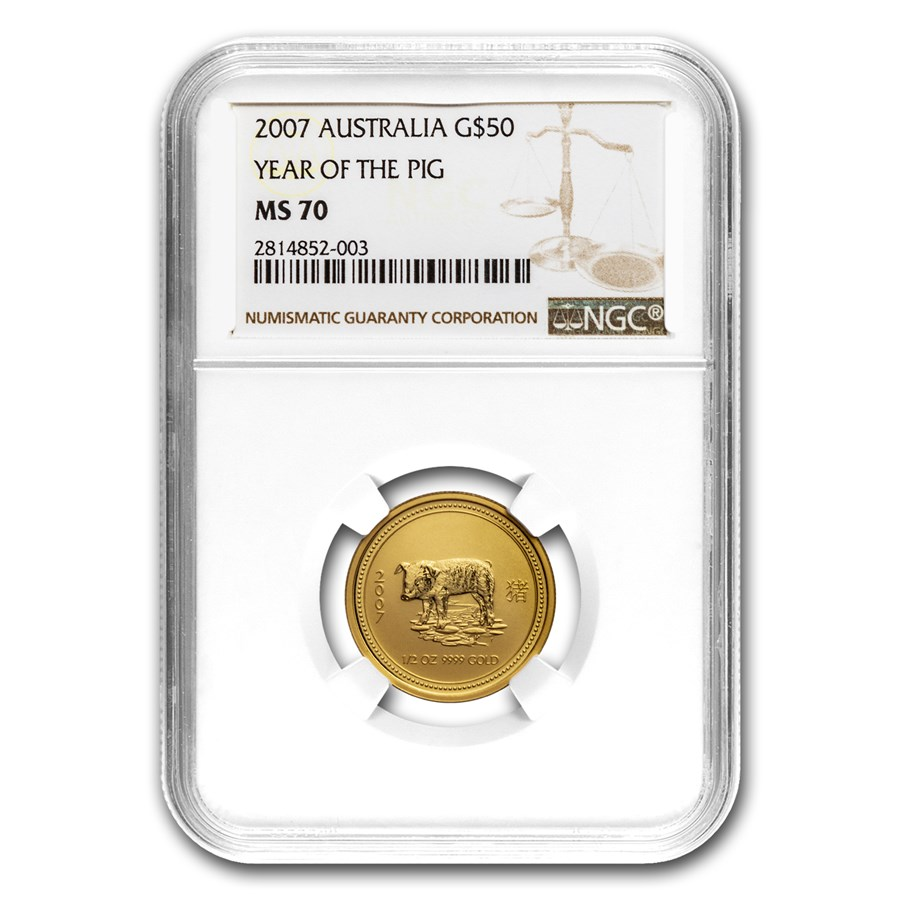 2007 1/2 oz Gold Lunar Year of the Pig MS-70 NGC (Series 1)