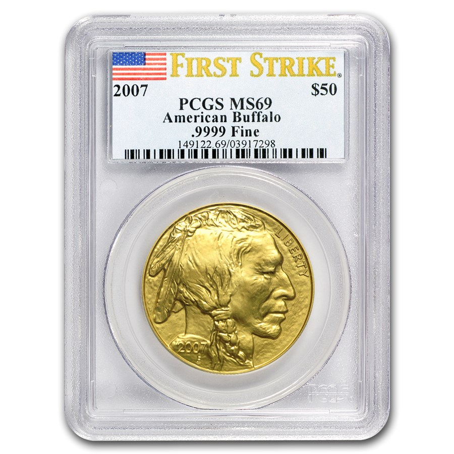 2007 1 oz Gold Buffalo MS-69 PCGS (FirstStrike®)