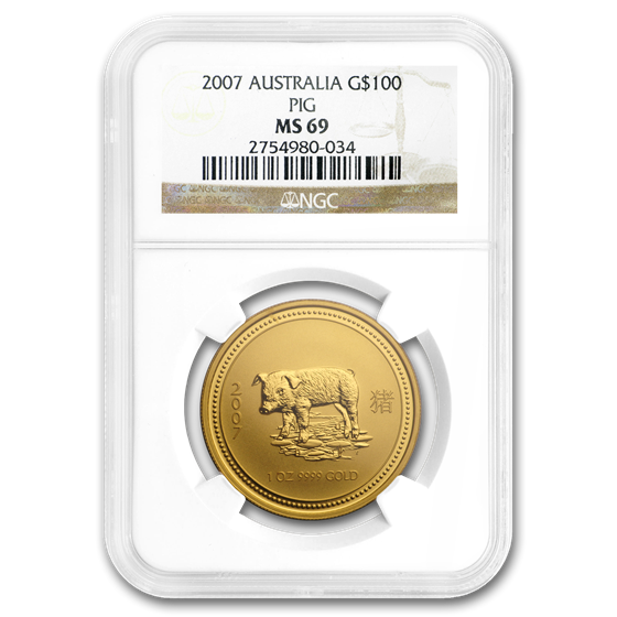2007 1 oz Gold Lunar Year of the Pig MS-69 NGC (Series I)
