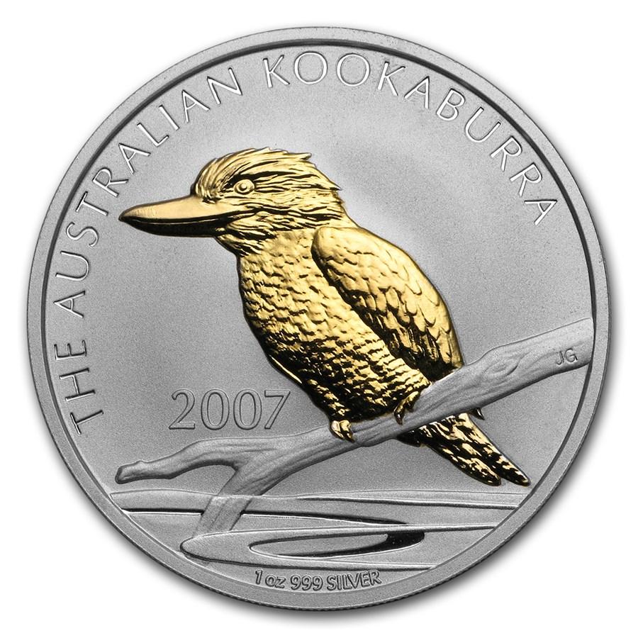 2007 2-Pc 1 oz Silver Kookaburra Coin & Pin Set BU (Gilded)
