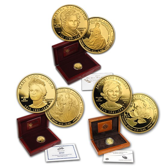 2007-2015 1/2 oz Gold First Spouse Coins Proof Set (Box & COA)