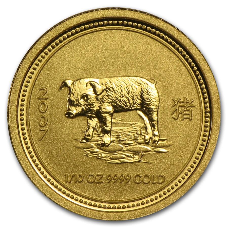 2007 Australia 1/10 oz Gold Lunar Pig BU (Series I)