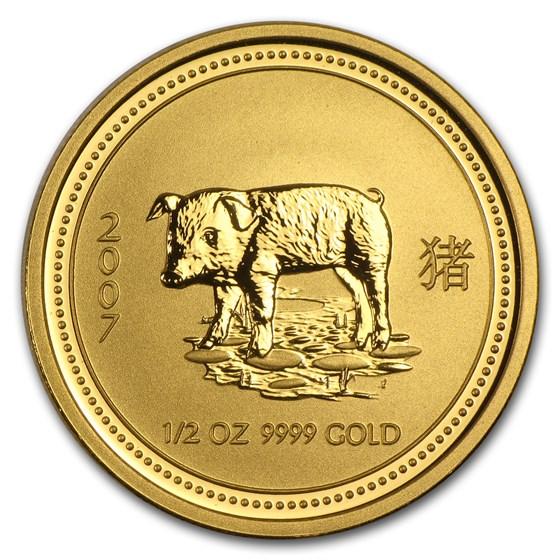 2007 Australia 1/2 oz Gold Lunar Pig BU (Series I)