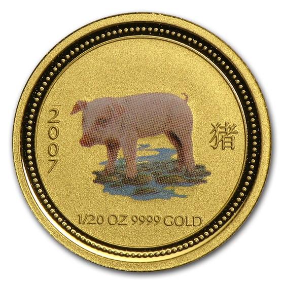 2007 Australia 1/20 oz Gold Lunar Pig BU (Series I, Colorized)
