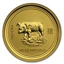 2007 Australia 1/20 oz Gold Lunar Pig BU (Series I)