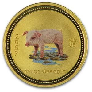 2007 Australia 1/4 oz Gold Lunar Pig BU (Series I, Colorized)