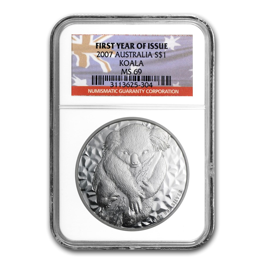 2007 Australia 1 oz Silver Koala MS-69 NGC (First Year of Issue)