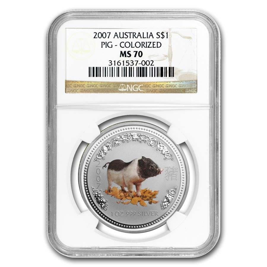 2007 Australia 1 oz Silver Pig MS-70 NGC (Colorized)