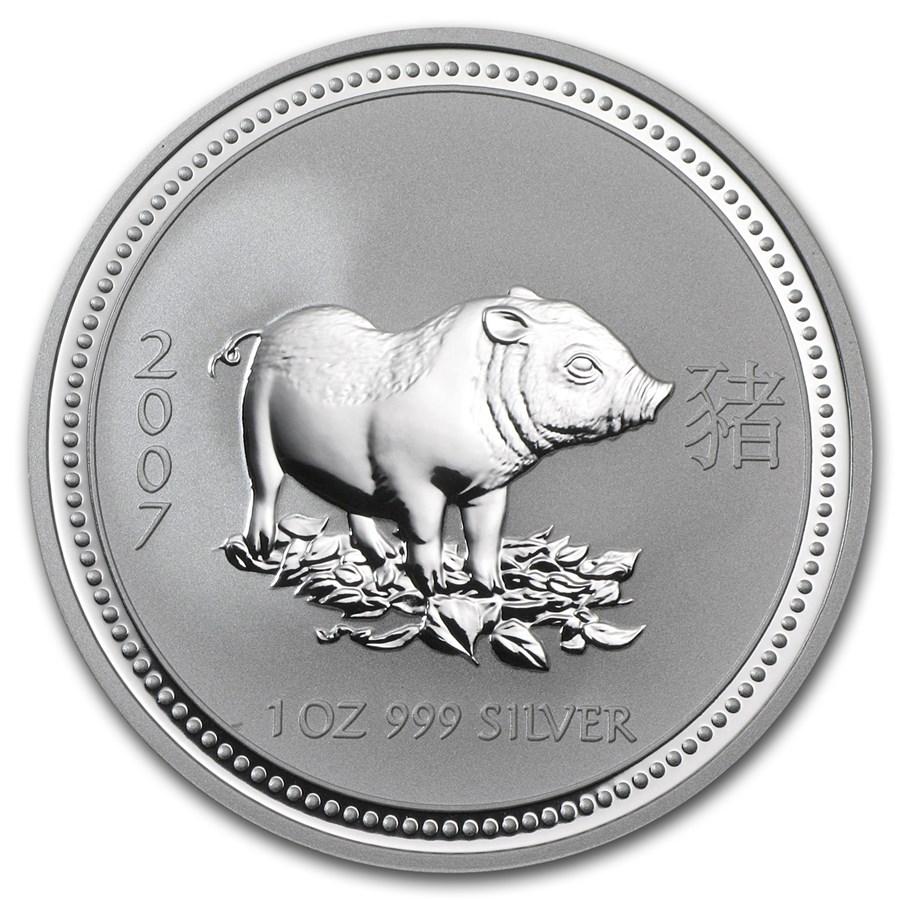 2007 Australia 1 oz Silver Year of the Pig BU (Series I)