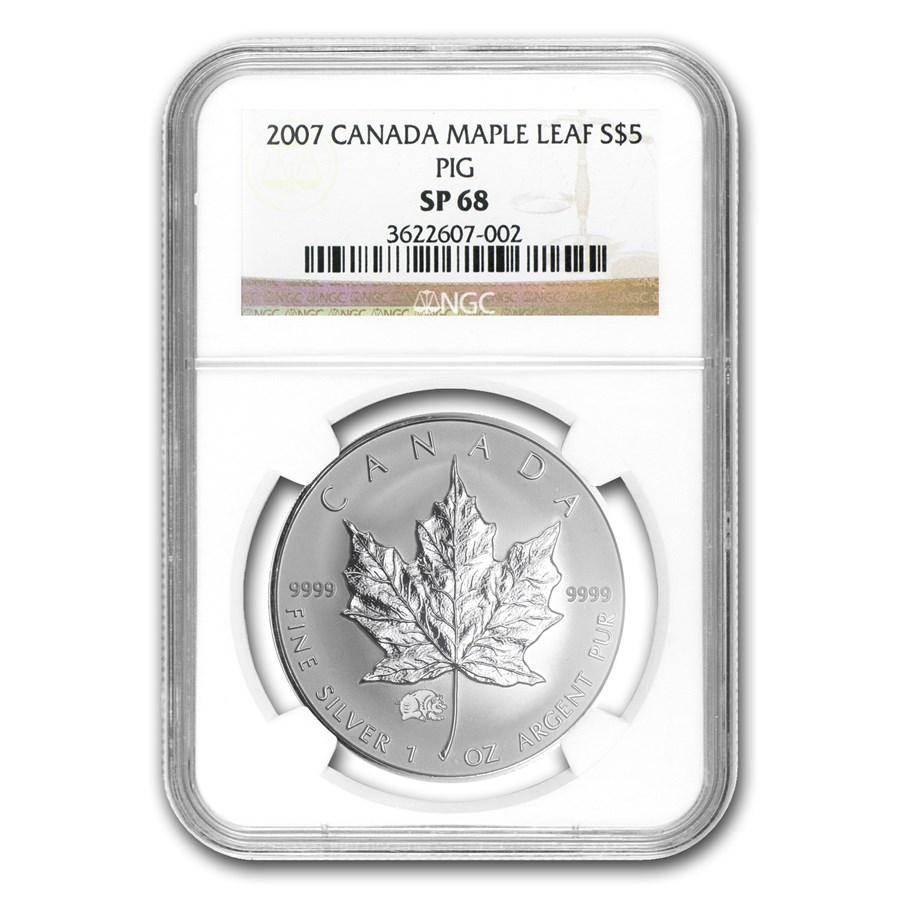2007 Canada 1 oz Silver Maple Leaf Lunar PIG Privy SP-68 NGC