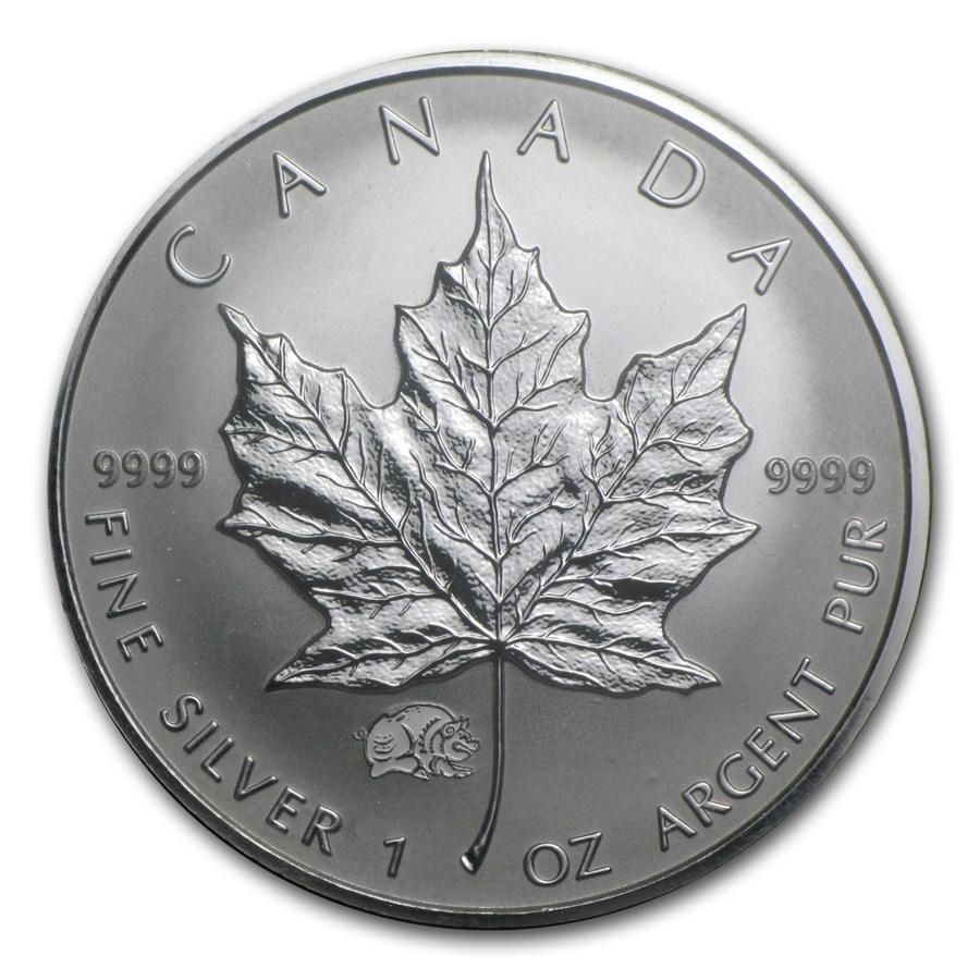 2007 Canada 1 oz Silver Maple Leaf Lunar Pig Privy