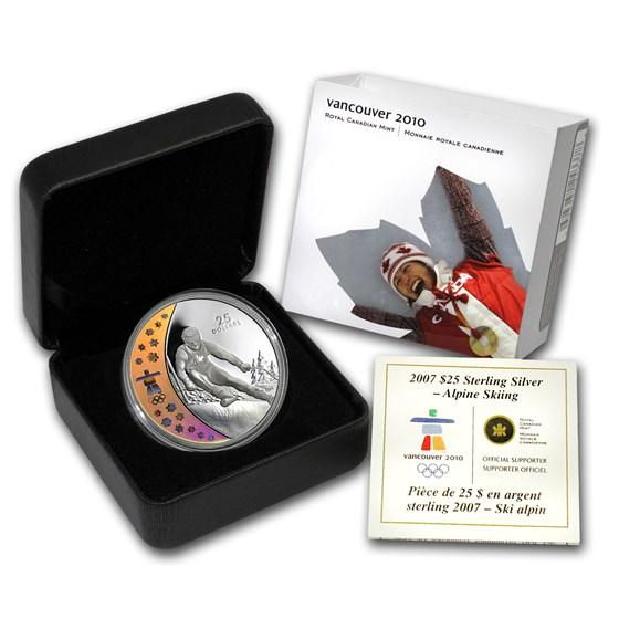 2007 Canada Silver $25 Olympic Alpine Skiing (Hologram, Box/COA)