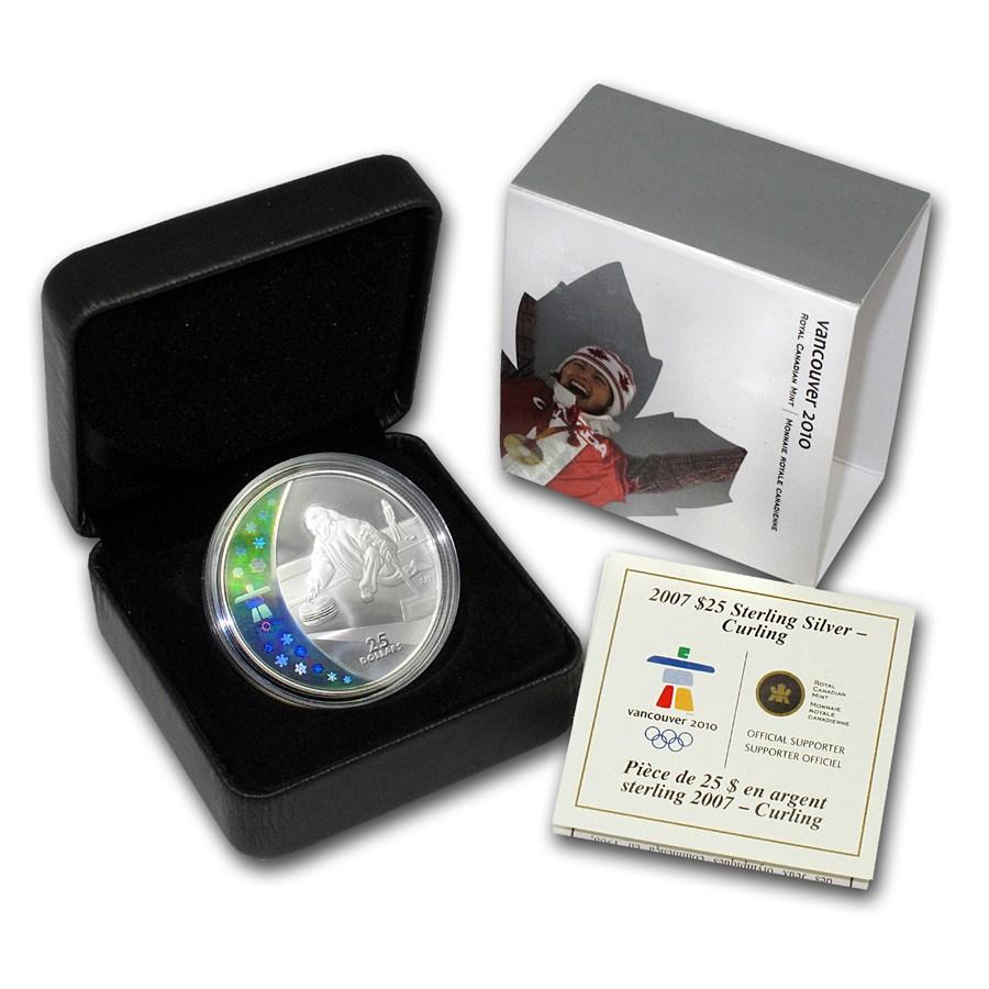 2007 Canada Silver $25 Olympic Curling (Hologram, w/Box & COA)