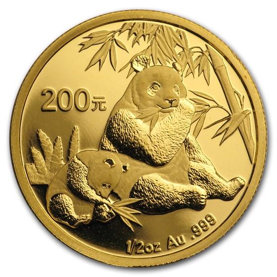 2007 China 1/2 oz Gold Panda BU (In Capsule)