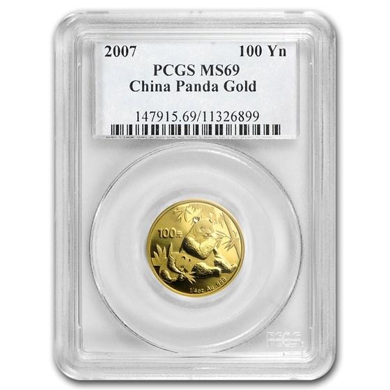 2007 China 1/4 oz Gold Panda MS-69 PCGS