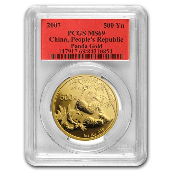 2007 China 1 oz Gold Panda MS-69 PCGS
