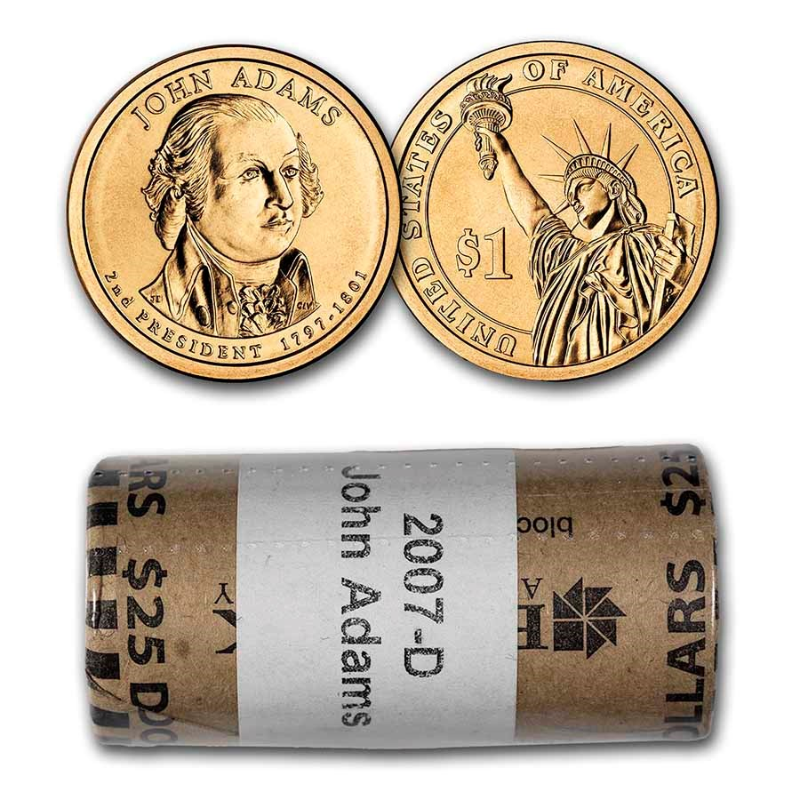 2007-D John Adams 25-Coin Presidential Dollar Roll