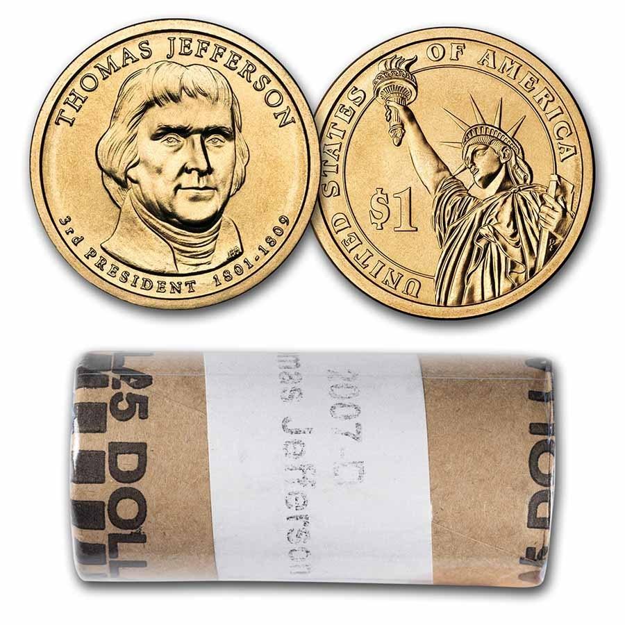 2007-D Thomas Jefferson 25-Coin Presidential Dollar Roll