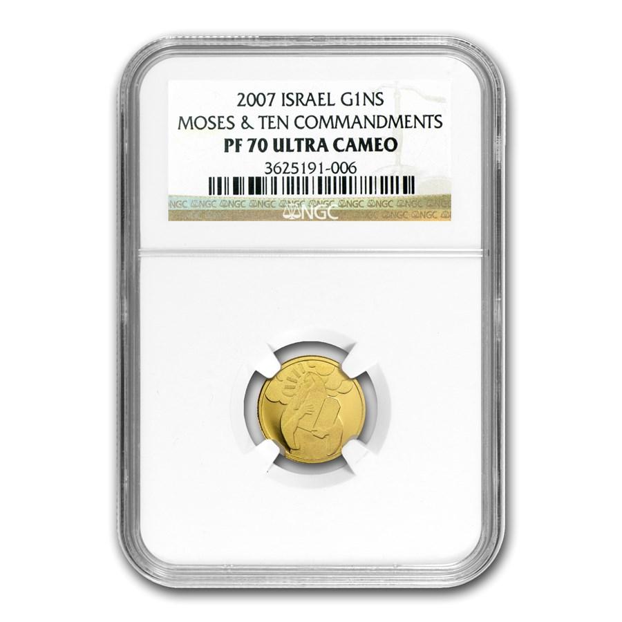 2007 Israel 1/25 oz Proof Gold Moses PF-70 NGC