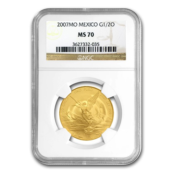 2007 Mexico 1/2 oz Gold Libertad MS-70 NGC