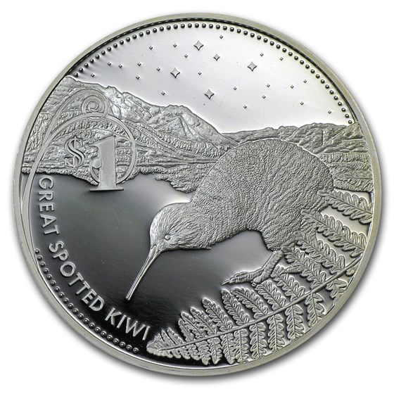 2007 New Zealand 1 oz Silver $1 Great Spotted Kiwi Proof