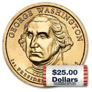 2007-P George Washington 25-Coin Presidential Dollar Roll
