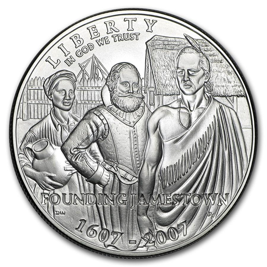 2007-P Jamestown 400th Anniv $1 Silver Commem BU (w/Box & COA)